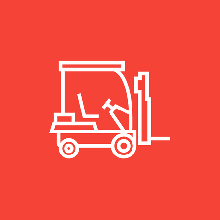 Forklift thick line icon with pointed corners and edges for web, mobile and infographics. Vector isolated icon.