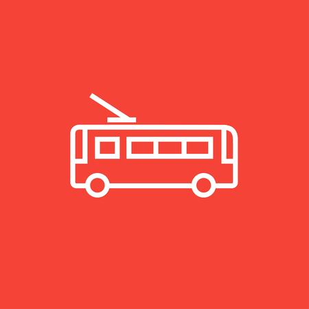 Trolleybus dicke Linie Symbol mit spitzen Ecken und Kanten für Web, Mobile und Infografiken. Vector isoliert Symbol. Standard-Bild - 55071809