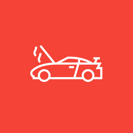 Voiture cassée avec capot ouvert icône de la ligne épaisse avec des coins pointus et des bords pour le web, le mobile et infographies. Vector icône isolé. Banque d'images - 55071813