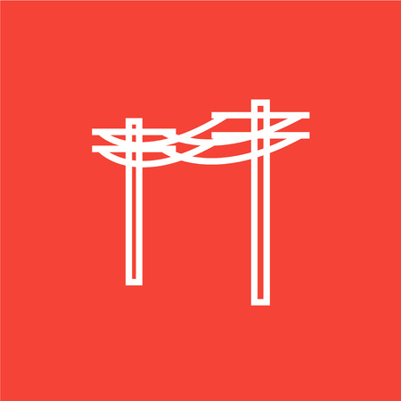 High voltage power lines thick line icon with pointed corners and edges for web, mobile and infographics. Vector isolated icon.