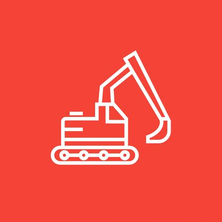 dig up: Excavator thick line icon with pointed corners and edges for web, mobile and infographics. Vector isolated icon.