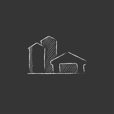 Farm buildings. Hand drawn in chalk vector isolated icon for web, mobile and infographics.