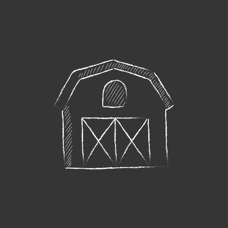Edificio de la granja. Dibujado a mano en el icono de tiza vector aislado para web, móvil y la infografía. Foto de archivo - 55072095