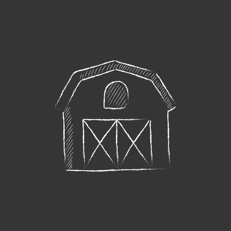 Farm building. Hand drawn in chalk vector isolated icon for web, mobile and infographics. Illusztráció