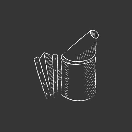 Bee hive smoker. Hand drawn in chalk vector isolated icon for web, mobile and infographics. Illustration