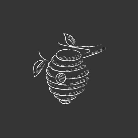 ミツバチの巣箱。インフォ グラフィック、モバイル web のチョーク ベクトル分離アイコンで描画手。
