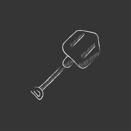 hand shovels: Shovel. Hand drawn in chalk vector isolated icon for web, mobile and infographics.