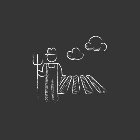 grower: Farmer with pitchfork standing on the field. Hand drawn in chalk vector isolated icon for web, mobile and infographics.