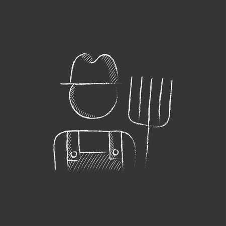 villager: Farmer with pitchfork. Hand drawn in chalk vector isolated icon for web, mobile and infographics.