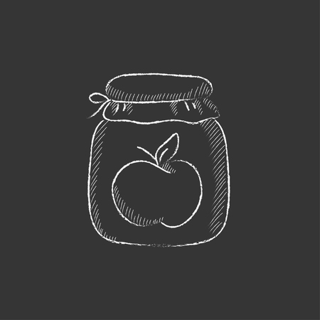 Apple jam jar. Hand drawn in chalk vector isolated icon for web, mobile and infographics.