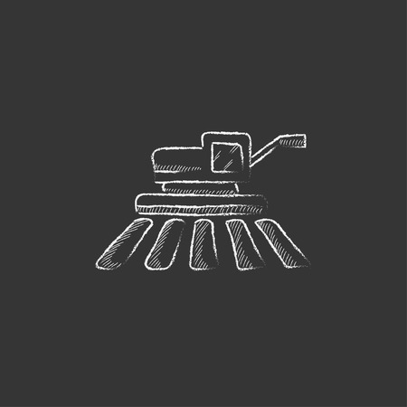 combine harvester: Combine harvester. Hand drawn in chalk vector isolated icon for web, mobile and infographics.