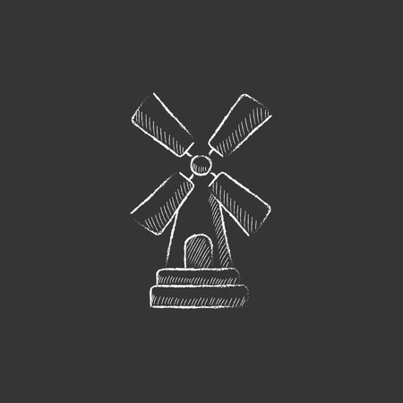 Windmill. Hand drawn in chalk vector isolated icon for web, mobile and infographics.
