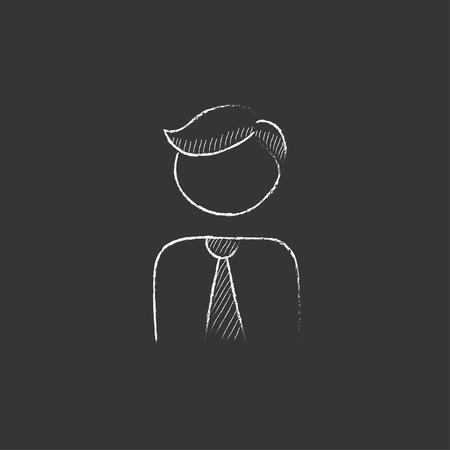 profile picture: Businessman. Hand drawn in chalk vector isolated icon for web, mobile and infographics. Illustration