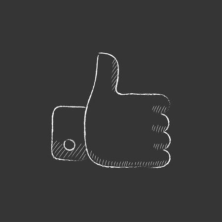 Thumb up. Hand drawn in chalk vector isolated icon for web, mobile and infographics. Illustration