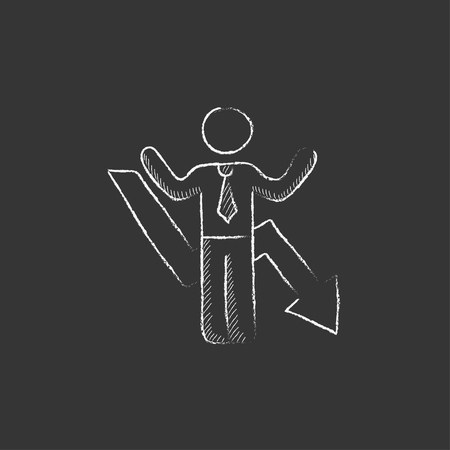 going down: Businessman with raised hands and arrow going down. Hand drawn in chalk vector isolated icon for web, mobile and infographics.