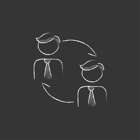 turnover: Staff turnover. Hand drawn in chalk vector isolated icon for web, mobile and infographics.