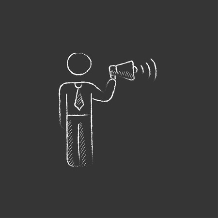 noisiness: Businessman with megaphone. Hand drawn in chalk vector isolated icon for web, mobile and infographics.