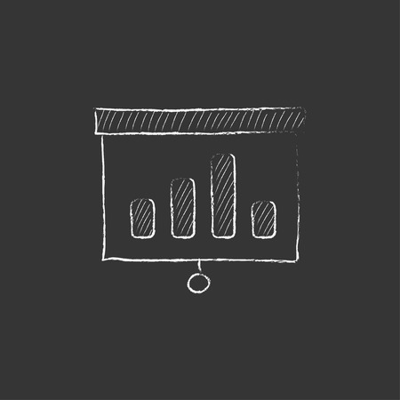 rollup: Projector roller screen. Hand drawn in chalk vector isolated icon for web, mobile and infographics. Illustration