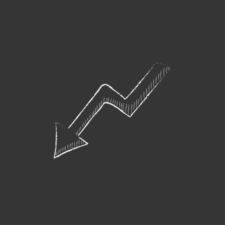 Arrow downward. Hand drawn in chalk vector isolated icon for web, mobile and infographics. Illustration