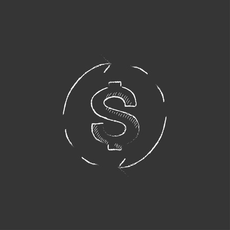 Dollar symbol with arrows around. Hand drawn in chalk vector isolated icon for web, mobile and infographics.