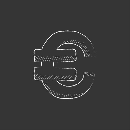 price gain: Euro symbol. Hand drawn in chalk vector isolated icon for web, mobile and infographics. Illustration