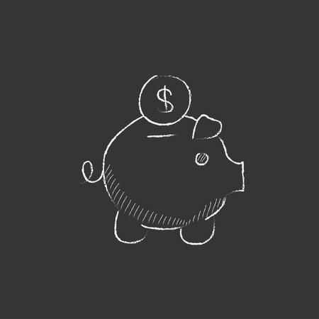 Piggy bank with dollar coin. Hand drawn in chalk vector isolated icon for web, mobile and infographics.