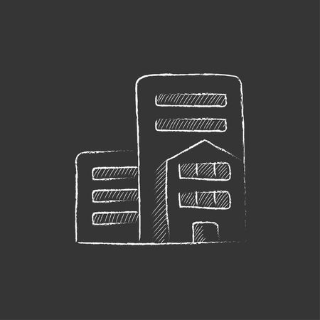 cemented: Residential buildings. Hand drawn in chalk vector isolated icon for web, mobile and infographics.