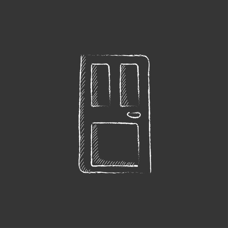front door: Front door. Hand drawn in chalk vector isolated icon for web, mobile and infographics.