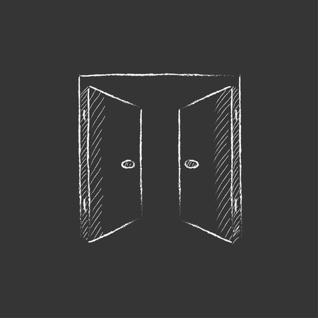 double entry: Open doors. Hand drawn in chalk vector isolated icon for web, mobile and infographics.