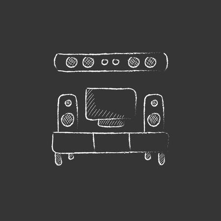 TV flat screen and home theater. Hand drawn in chalk vector isolated icon for web, mobile and infographics. Illustration