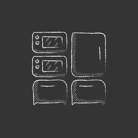 interior decoration: Household appliances. Hand drawn in chalk vector isolated icon for web, mobile and infographics.