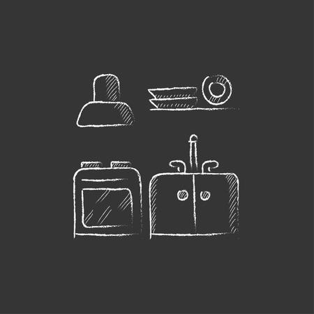 Interior de la cocina. Dibujado a mano en el icono de tiza vector aislado para web, móvil y la infografía. Foto de archivo - 55075140