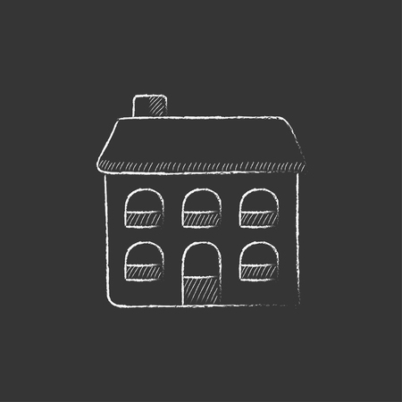 housing project: Two storey detached house. Hand drawn in chalk vector isolated icon for web, mobile and infographics.
