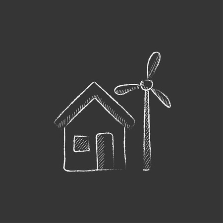 accumulation: House with windmill. Hand drawn in chalk vector isolated icon for web, mobile and infographics.