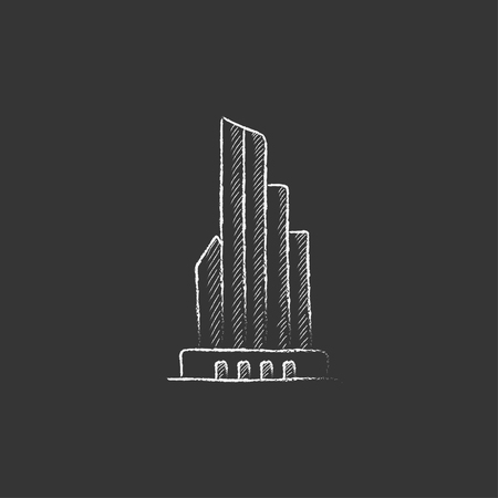 multi storey: Skyscraper office building. Hand drawn in chalk vector isolated icon for web, mobile and infographics.