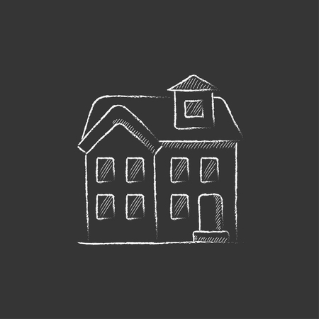detached house: Two storey detached house. Hand drawn in chalk vector isolated icon for web, mobile and infographics.