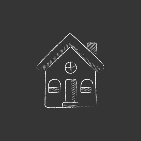 detached: Detached house. Hand drawn in chalk vector isolated icon for web, mobile and infographics.