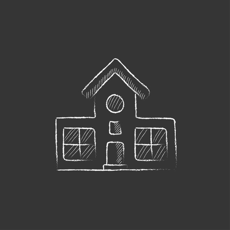 Building. Hand drawn in chalk vector isolated icon for web, mobile and infographics. Ilustracja