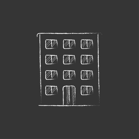 Residential building. Hand drawn in chalk vector isolated icon for web, mobile and infographics. Illustration