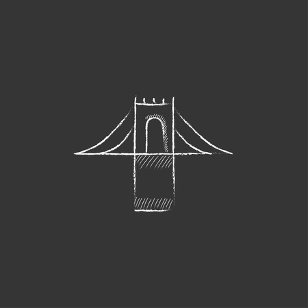 bridge hand: Bridge. Hand drawn in chalk vector isolated icon for web, mobile and infographics.