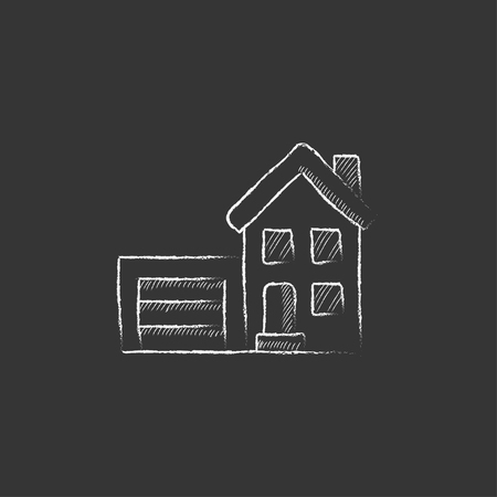 automatic doors: House with garage. Hand drawn in chalk vector isolated icon for web, mobile and infographics. Illustration