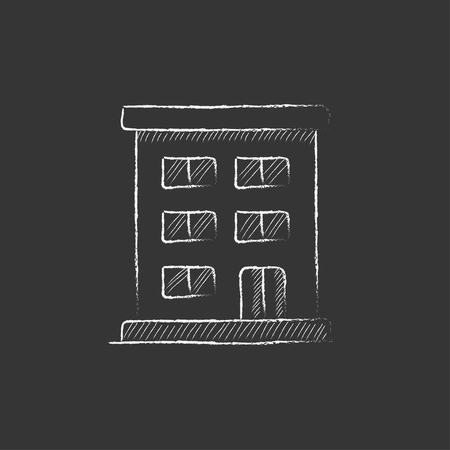 cemented: Residential building. Hand drawn in chalk vector isolated icon for web, mobile and infographics. Illustration