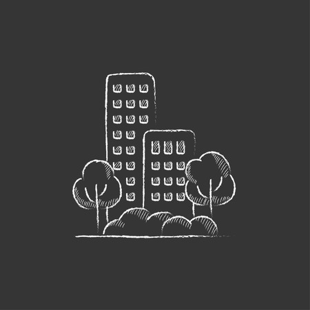 multi storey: Residential building with trees. Hand drawn in chalk vector isolated icon for web, mobile and infographics.