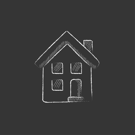 two storey house: Two storey detached house. Hand drawn in chalk vector isolated icon for web, mobile and infographics.