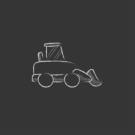 dig up: Excavator. Hand drawn in chalk vector isolated icon for web, mobile and infographics.