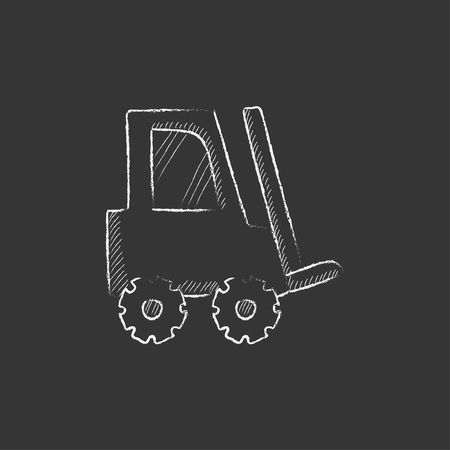 distribution picking up: Forklift. Hand drawn in chalk vector isolated icon for web, mobile and infographics. Illustration
