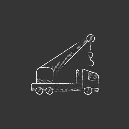 lifter: Mobile crane. Hand drawn in chalk vector isolated icon for web, mobile and infographics.