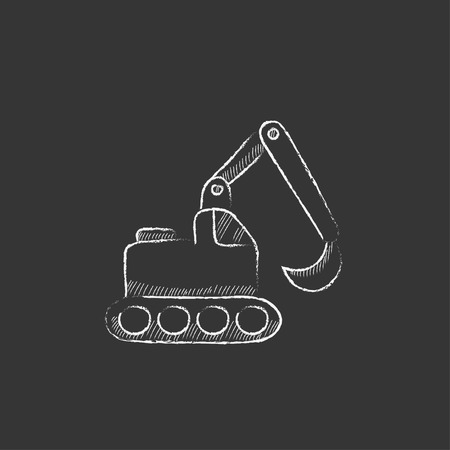 dumps: Excavator. Hand drawn in chalk vector isolated icon for web, mobile and infographics.