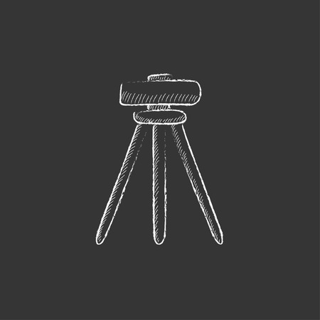 levelling: Theodolite on tripod. Hand drawn in chalk vector isolated icon for web, mobile and infographics.