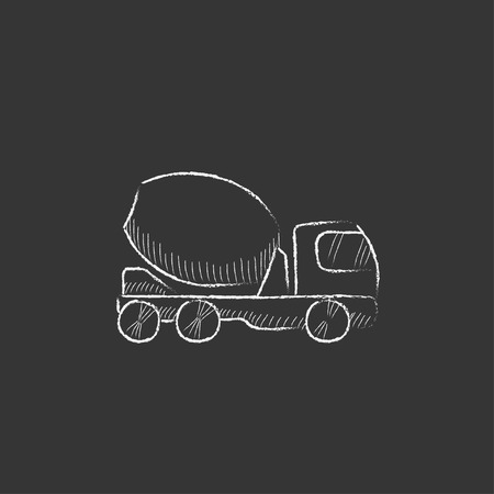 concrete mixer truck: Concrete mixer truck. Hand drawn in chalk vector isolated icon for web, mobile and infographics.